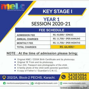 Admission Fees: Key stage 1